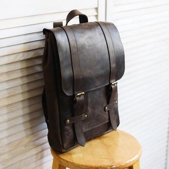 Вместительный мужской городской рюкзак из натуральной кожи (арт.501)