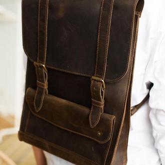 Удобный городской коричневый рюкзак из натуральной кожи отличный подарок для девушки (арт. 510)