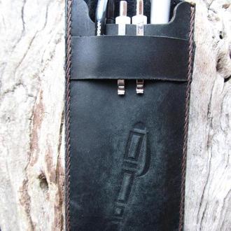 карандаши в чехле,пенал кожаный,подарок другу,подарок учителю,именной чехол для ручек