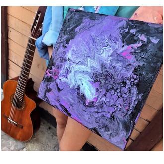 Абстрактная картина акрилом на холсте Акриловая заливка ФЛЮИД-АРТ / Fluid art  Подарок