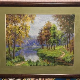 "Вышитая картина ""Осень на берегу реки"""