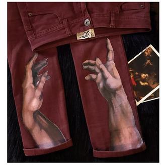 Розпис одягу  . Сотворение Адама. Малюнки на джинсах .Роспись одежды ткани.  Подарунок