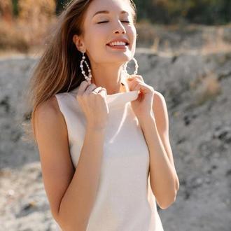 Серьги-кольца жемчужные с хрусталем