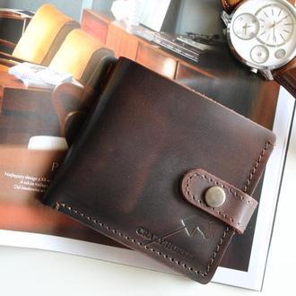 Мужское кожаное портмоне с монетницей и застежкой Joseph (Dark Coffee) 006