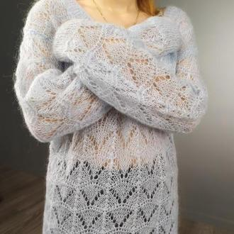 Мохеровый свитерок (двунить, ажур)
