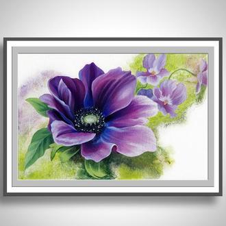 "картина ""Фиолетовый шарм"", холст, акрил, 20х30см"