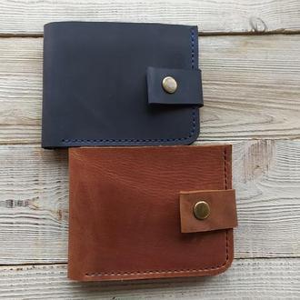Мужской классический кожаный кошелёк. Мужской бумажник. Подарок