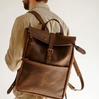 Вместительный стильный мужской рюкзак с карманом спереди на молнии оригинальный подарок парню