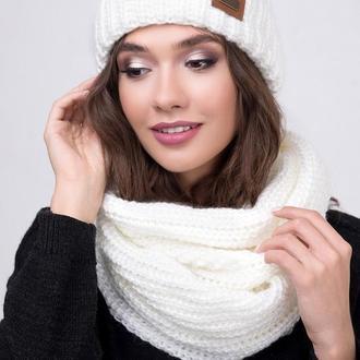Комплект шапка с подворотом и шарф-снуд