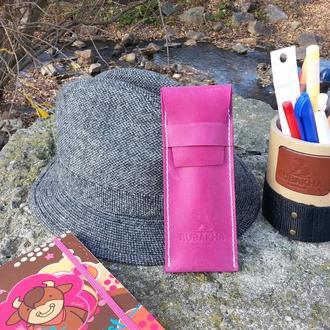 Пенал для ручек Rubakha из натуральной кожи 16х7 см Розовый (0953)