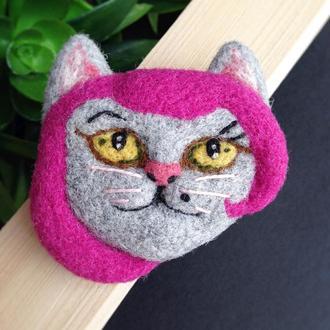 Брошь валяная - Кошка с розовыми волосами - брошь из шерсти