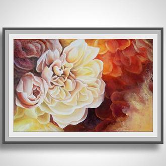 "картина ''Розы"", акрил, масло, холст 20х30см"