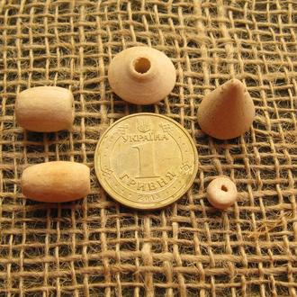 Бусины деревянные разной конфигурации. Стоимость каждой бусины указана в описании.