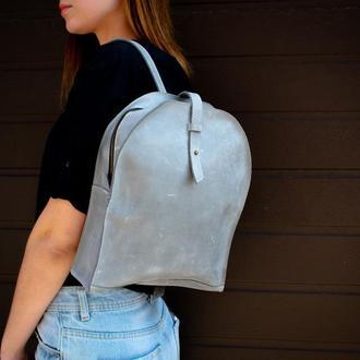 Серый кожаный женский мини-рюкзак