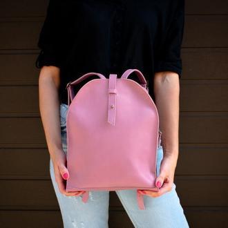 Сиреневый кожаный женский рюкзак