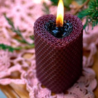 Натуральная свеча из 100% пчелиного воска, с натуральным медовым ароматом в форме сердца, фиолетовая