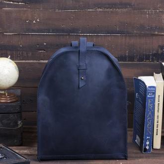 Женский кожаный синий рюкзак