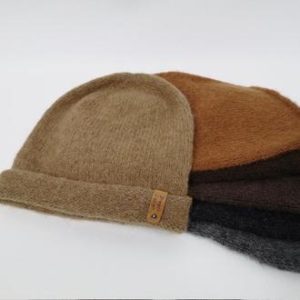 Шапка бини вязаная альпака зимняя шапка теплая
