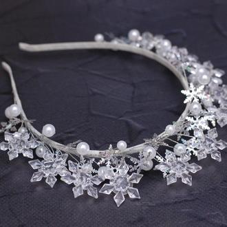 Новогодний обруч ободок снежинки, снежной королевы