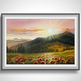 """Картина пейзаж """"Поле маков"""", акрил, холст"""