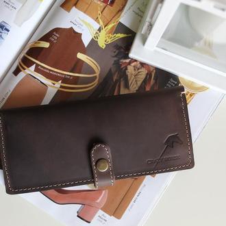 Мужской кошелек из натуральной кожи Jade (Dark brown) 019