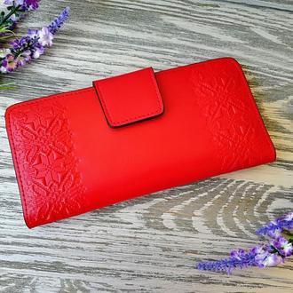 Гаманець жіночий червона вишиванка