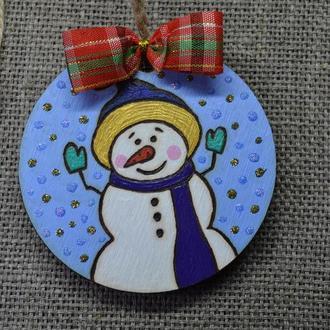 """Новогодняя подвеска, украшение для елки, новогодний декор """"Снеговик"""""""