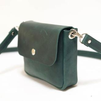 Сумочка Макарун мини Винтажная кожа цвет Зеленый