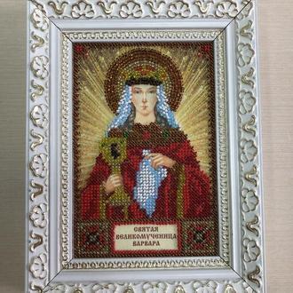 Икона вышитая бисером в багете Святая Великомученица Варвара