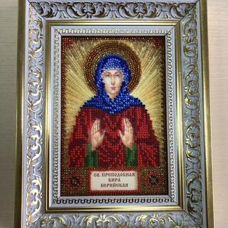 Икона вышитая бисером в багете Святая Преподобная Кира Берийская