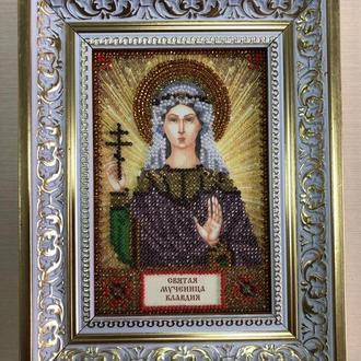 Икона вышитая бисером в багете Святая Мученица Клавдия