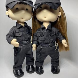 Интерьерная текстильная кукла полицейский