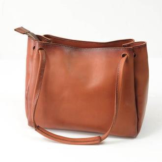 """Кожаная сумочка """"Азия"""", итальянский краст, цвет коричневый"""