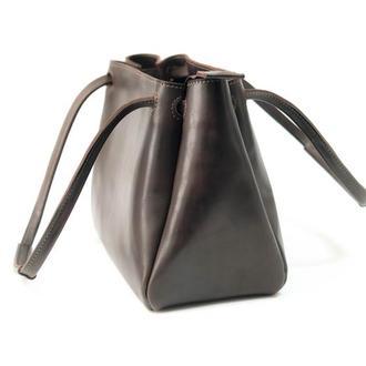 """Кожаная сумочка """"Азия"""", итальянский краст, цвет кофе"""