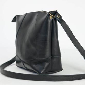 """Кожаная сумочка """"Диамант"""", итальянский краст, цвет черный"""