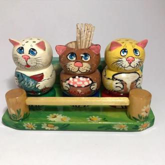 Набор для специй деревянный расписной Коты
