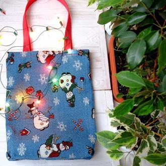 Эко сумка новогодняя с снеговиками, подарочная сумка-пакет, торба, сумка шоппер 32