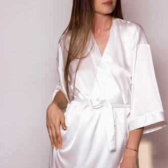 Молочный (белый) шелковый халат, женский халат из шелка