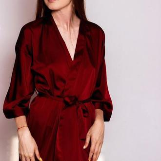 Бордовый шелковый халат, женский халат из шелка
