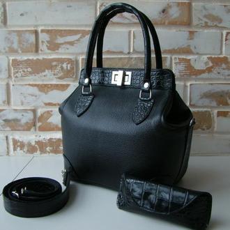 Шикарная кожаная женская сумка-саквояж / черная сумка/ женская сумка