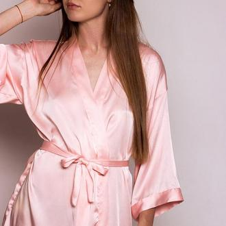 Розовый шелковый халат, женский халат из шелка
