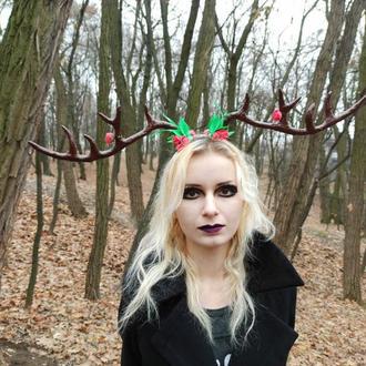 Рога оленя на обруче новогодние