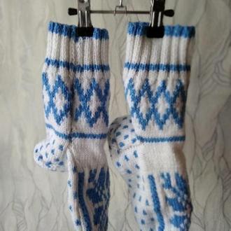 """Вязаные носки """"Снежинка"""" 39-40 р. (женские)"""