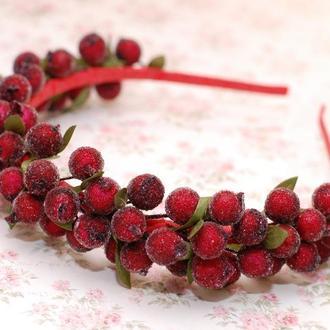 Обруч с ягодами калины бордовый