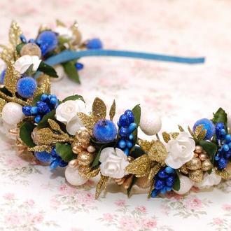 Яркий новогодний обруч ободок бело-сине-золотой