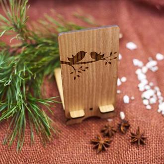 """Подставка под мобильный телефон из натурального дерева """"Птички"""""""