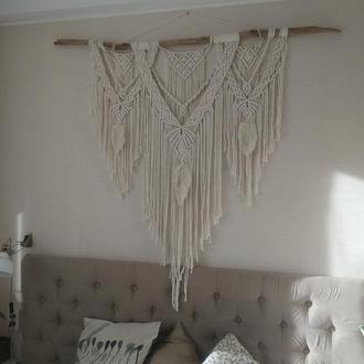Большое панно макраме для декора изголовья кровати в стиле бохо