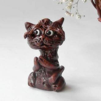 Фигурка кота котик коричневый сувенирный