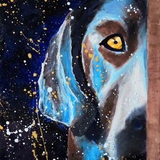 Картина «Волшебный Пёс», холст на подрамнике 40х30см, масло, 2019 год, Рябкова Людмила