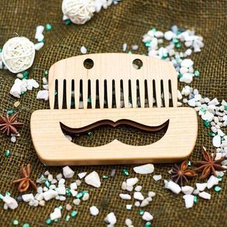 """Гребень для бороды деревянный в холдере """"Усы"""""""